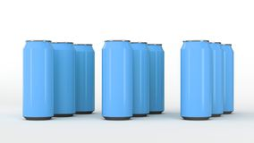 Roh von den blauen Getränkedosen Lizenzfreie Stockfotografie