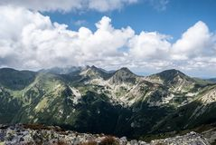 Rohace from Jakubina peak in Western Tatras mountains in Slovakia. Rohace mountain group with Volovec, Ostry Rohac and Placlive peak from Jakubina peak on stock photos