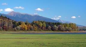 Rohace and Krivan as seen from Bobrovnik. Autumn view of Rohace hills and Krivan peak, part of High Tatras as seen from location of Liptovska Mara Lake, near stock photos