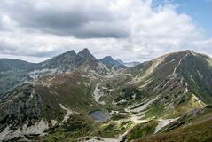 Rohace mountain group with Nizne Jamnicke pleso lake and peaks in Zapadne Tatry mountains in Slovakia. Rohace mountain group with Nizne Jamnicke pleso lake and royalty free stock images