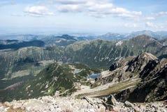 Rohacske plesa lakes with peaks above from Hruba kopa peak in Western Tatras mountains in Slovakia. Rohacske plesa lakes with peaks above from Hruba kopa peak on royalty free stock photography