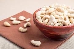 Rohe Acajounüsse für vegetarische Lebensmittelnahaufnahme Lizenzfreies Stockfoto