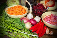 Rohe Bestandteile für das Kochen der vegetarischen Suppe auf einem Holztisch, Draufsicht lizenzfreies stockbild