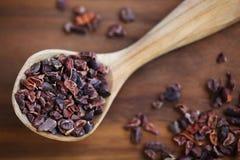 Rohe Bohnenspitzen oder -kakao der Kakaos zerquetscht Stockfotografie