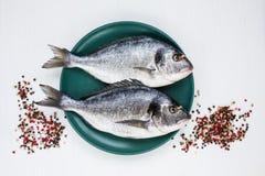 Rohe dorado Fische auf gelber Platte mit Pfefferkörnern auf weißer Tabelle Beschneidungspfad eingeschlossen Stockfoto