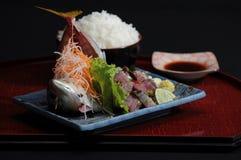 Rohe Fische und Schüssel gekochter Reis lizenzfreies stockbild