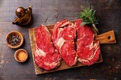 Rohe Frischfleisch Ribeye-Steakmittelrippe vom rind Lizenzfreies Stockbild