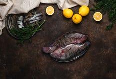 Rohe gesunde Fische auf Platte und Zitronen mit Kräutern auf dunkle Tischplatte Stockfotos