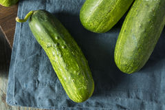 Rohe grüne organische Essiggurken-Gurken Stockfoto