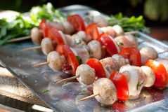 Rohe Hühnerkebabs mit Zwiebel, Tomaten und Champignon Lizenzfreies Stockbild