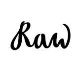 Rohe Hand gezeichnetes Logo, Aufkleber Vector Illustration ENV 10 für Lebensmittel und Getränk, Restaurants, Menü, Biomärkte und  Stockfoto