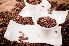 Rohe Kaffeebohnen Stockfoto