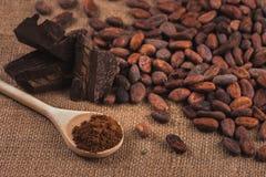 Rohe Kakaobohnen, Schokolade, hölzerner Löffel mit Kakaopulver auf sa stockfoto