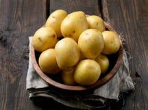 Rohe Kartoffeln in der Schüssel Lizenzfreie Stockbilder