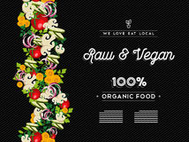 Rohe Lebensmittel-Menüschablone des strengen Vegetariers mit Gemüse Lizenzfreie Stockfotos