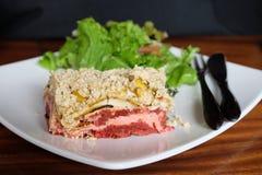 Rohe Lebensmittel-Vegetarier-Lasagne Stockbild