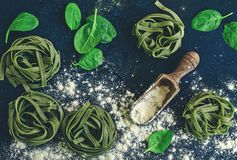 Rohe Lebensmittelinhaltsstoffe für Spinat Fettuccine stockfotografie