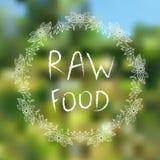 Rohe Nahrung Hand-skizzierte typografische Elemente auf blured Hintergrund stockfoto