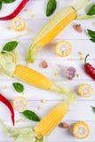 Rohe organische gelbe Maiskörner bereit, mit Pfefferknoblauch und -kräutern des scharfen Paprikas zu grillen Mexikanischer Mais Lizenzfreies Stockbild