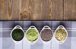 Rohe Samen und Pulver Superfood Stockfotografie
