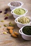 Rohe Samen und Pulver Superfood Stockbild