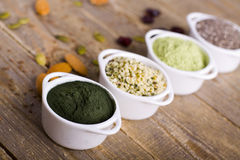 Rohe Samen und Pulver Superfood Lizenzfreies Stockbild