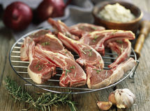 Rohe Schweinekoteletts bevor dem Grillen Lizenzfreies Stockfoto