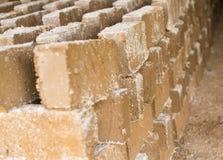 Rohe Ziegelsteine, die im Freien trocknen Stockbilder