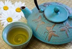 Roheisen-Teetopf mit Teeschale Stockbild
