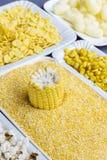 Roher Maiskolben, Getreidemehl, Maisstöcke und Flocken in den weißen Platten, Draufsicht lizenzfreies stockfoto