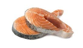 Roher rosa Salmon Steak, rote Fisch-, Kumpel-oder Forellen-Leiste herausgeschnitten lizenzfreies stockbild