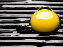 Rohes Ei auf einem Grill Stockfotografie