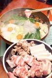 Rohes Fleisch für shabu shabu, japanisches Lebensmittel Stockbild