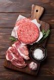 Rohes Fleisch und Kotelett Stockfotografie