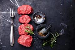 Rohes frisches gemarmortes Fleisch Steak Stockfoto