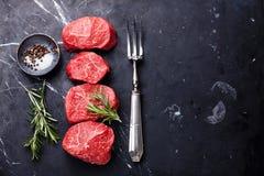 Rohes frisches gemarmortes Fleisch Steak Lizenzfreies Stockfoto