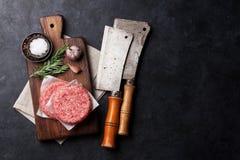 Rohes gehacktes Rindfleischfleisch für gemachte Hauptburger Lizenzfreies Stockbild