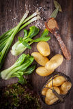 Rohes Gemüse mit Gewürzen Stockbild