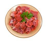 Rohes gewürfeltes Rindfleisch Stockbild