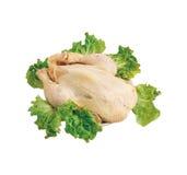Rohes Huhn auf Weiß Stockfoto