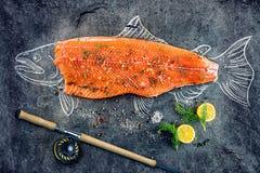 Rohes Lachsfischsteak mit Bestandteilen mögen Zitrone, Pfeffer, Seesalz und Dill auf schwarzem Brett, skizziertes Bild mit Kreide Lizenzfreie Stockfotos