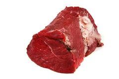 Rohes Rindfleischfleisch über Weiß Stockbilder