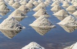 Rohes Salz oder Stapel des Salzes vom Meerwasser in der Verdampfung; Teiche an lizenzfreie stockfotos