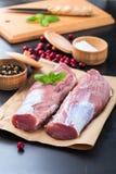 Rohes Schweinefleischzartes lendenstück Stockfoto