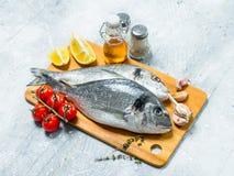 Rohes Seefisch dorado mit Tomaten, Zitronenkeilen und Gewürzen stockbild
