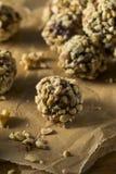 Rohes selbst gemachtes gesundes Gluten-freie Datums-Bisse Stockbilder