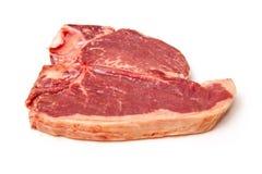 Rohes Steak auf Weiß Stockfotografie