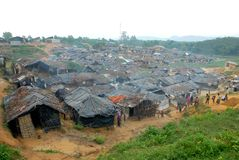 Rohingya refugees in Bangladesh. The overview of Kutupalong Rohingya refugee camp, Teknaf, Cox�s bazar. There are 30,000 un-registered By UNHCR Rohingya royalty free stock photo