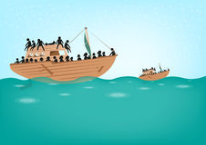 Rohingya Refugees on Boat concept. Boat People or Stateless Refugees risking lives to find searching new homes or life due to persecution. Editable Clip Art and stock illustration