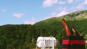 Rohr auf Frachtschifffloss der Fluss an den Bergen bedeckt durch grünes Holz landschaft Sonniger Tag des Sommers stock video footage